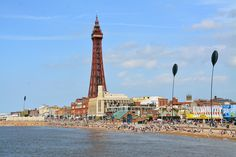 Looking along Blackpool seafront and promenade from central pier