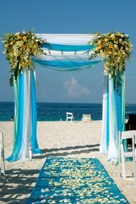 Turquoise And Silver Weddings   beautiful wedding arch for a beach theme I love the blue white aqua ...