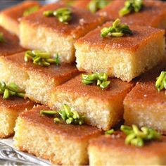Maha Salah takes us into her kitchen with a how to video on how to prepare the Arabic dessert basboosa. Ramadan Desserts, Ramadan Recipes, Köstliche Desserts, Delicious Desserts, Dessert Recipes, Ramadan Food Iftar, Plated Desserts, Lebanese Recipes, Lebanese Desserts