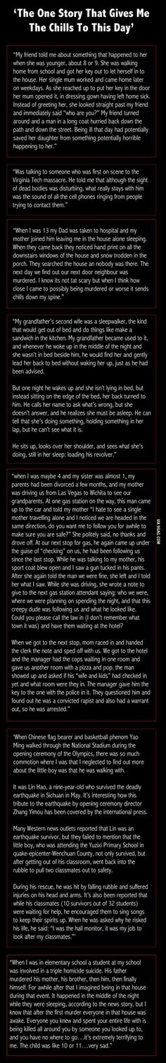 'The One Story That Gives Me The Chills To This Day' Aw. The last story. Though this isn't that scary nor creepy. Scary Creepy Stories, Spooky Stories, Creepy Facts, Creepy Horror, Sad Stories, Ghost Stories, Horror Stories, Creepy Stuff, Creepy Pasta Stories