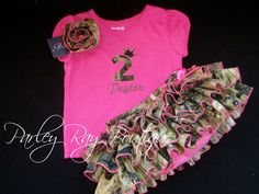 Parley Ray Pink Real Tree Camouflage Birthday Number Personalized Monogrammed Appliquéd Shirt. $25.00, via Etsy.