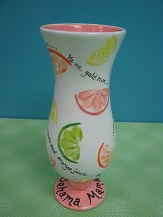 love the brush stroke citrus! hurricane glass.  bahama mama