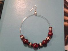 Red Beaded Hoop Earrings Red Earrings   LOVE33 - Jewelry on ArtFire