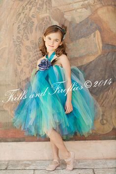 Peacock Flower Girl Tutu Halter Dress in Aqua, Turquoise, Teal, Navy and Green by Frills and Fireflies