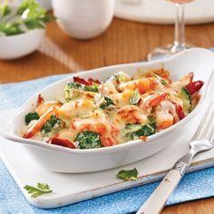 Gratin de fruits de mer et brocoli - 5 ingredients 15 minutes - Meat foods Meat Recipes, Seafood Recipes, Cooking Recipes, Healthy Recipes, Confort Food, Pasta, Easy Cooking, Food Videos, Entrees