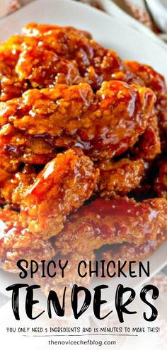 May 2020 - Delectable Sticky Chicken Tenders ready in 15 minutes! This sweet and spicy recipe is perfect as an appetizer or dinner main dish. Save this quick and easy family-friendly chicken recipe for later! Spicy Dishes, Food Dishes, Main Dishes, Spicy Chicken Recipes, Easy Chicken Dinner Recipes, Recipes Dinner, Sweet And Spicy Chicken, Sticky Chicken, Entrees