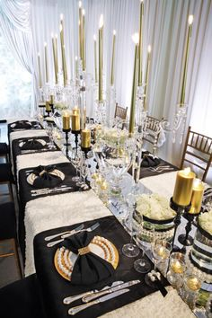 Elegant Black, White & Gold Wedding Theme - Maybe change the black to a royal blue?