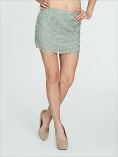 Scallop Beaded Mini Skirt CLEARANCE  - extra 50% off. I like how the site tells you the model size. Thanks!!