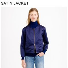 🎉HP🎉 J Crew Satin Jacket NWT! This is a great, trendy jacket. Beautiful navy satin with a rose gold zipper. It's a size 4 but it does run large so it's a boxy fit for a 4, it would fit up to a size 8. J. Crew Jackets & Coats