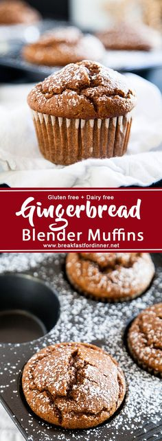 Gingerbread Blender Muffins are made 100% in the blender, and are gluten and dairy-free. An easy and healthy holiday muffin!