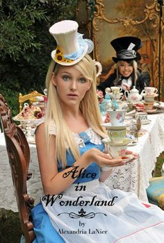 alice in wonderland halloween costume. love the mad hatter costume in the background!