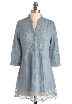 Nice and Breezy Tunic - Long, Casual, Boho, Blue, Solid, Lace, 3/4 Sleeve