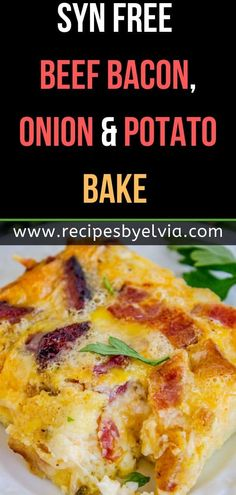 This Syn Free Beef Bacon, Onion and Potato Bake reminds me of my childhood, where… Slimming World Potato Salad, Slimming World Pasta Bake, Slimming World Dinners, Slimming World Recipes Syn Free, Slimming World Diet, Bacon Recipes For Dinner, Baked Pasta Recipes, Seafood Recipes, My Recipes