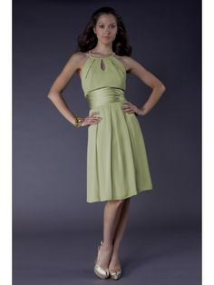 A-line Chiffon High-neck Wide Pleated Waistand Short Special Occasion Dress