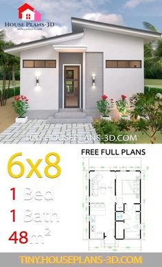 Studio House Plans Shed Roof – Tiny House Plans - Dekoration Ideen 2019 Micro House Plans, Little House Plans, Small House Floor Plans, Small Tiny House, Modern House Plans, House Roof Design, Container House Design, Small House Design, 6x8 Shed