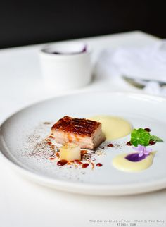 12 hour slow cooked pork belly with potato and yuzu