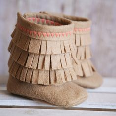 Newborn Girl's Moccasin Boots on Etsy, $40.00