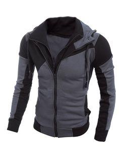 Color Spliced Long Sleeve Double Zipper Hoodie For Men