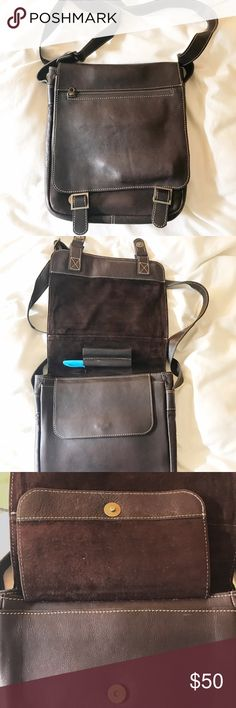 "Leather satchel 100% leather satchel. Leather on the outside and suede on the inside. Bag measures 12"" x 10"". Magnetic closure. Multiple pockets and pen holder. Outside and inside zipper pocket. Very roomy. Adjustable shoulder strap. Great condition. Bags Satchels"