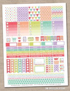 Sugar Collection Printable Planner Stickers PDF Instant Download Weekly Graphics Kit