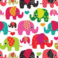Cute elephant parade india pattern with flowers hearts and dots. Kids inspiration for bedroom or birthday party.