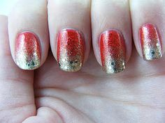 Red to gold gradient #nails.