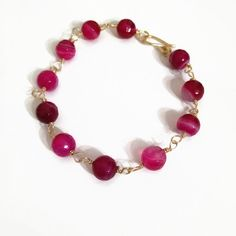 Valentine's Day Pink Agate Beaded Bracelet Fuchsia Agate Bracelet Gold Wire Chain Bracelet (WC15) by JulemiJewelry on Etsy. Click on photo to purchase today!