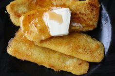 Homemade fried mush.  Made this for breakfast with Rossell's Sugar Camp syrup.  YUM    http://www.thefrugalgirl.com/2009/02/breakfast-week-fried-mush/