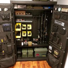 Have you been wondering whats in the new Answer 12 Pro and Plus cabinets? Head to our website to check out the fully loaded lineup! Hidden Gun Safe, Hidden Gun Storage, Weapon Storage, Hidden Gun Rooms, Weapons Guns, Guns And Ammo, Gun Safe Room, Gun Closet, Tactical Wall