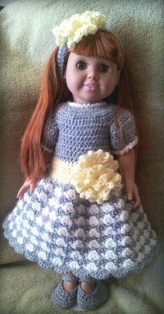 Crochet Pattern Springtime Dress Set for 18 inch Doll by Amy Carrico :)