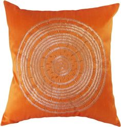 """Decorative Emboirdery & Beads Floral Throw Pillow Cover 18"""" Orange"""