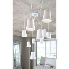 Deckenleuchte, mit 10 Baumwollschirmen - auch mit Glasschirmen und Repro-Lampen