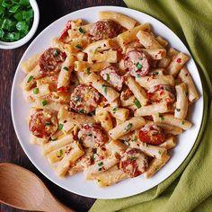 Kilbasa Sausage Recipes, Polish Sausage Recipes, Smoked Sausage Recipes, Turkey Kielbasa Recipes, Sausage Crockpot, Turkey Sausage Pasta, Creamy Sausage Pasta, Kalbasa Recipes, Cooking Recipes