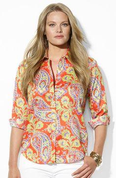 Lauren Ralph Lauren Paisley Print Cotton Shirt (Plus) available at #Nordstrom