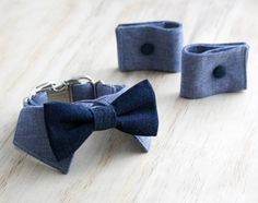 Chambray shirt collar with denim bow tie and cuffs.....custom made for a very dapper bestdog! by dusidog