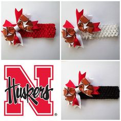 Husker Football Waffle Headband with Hair Bow (Pick One Headband) - Layered Boutique Hairbow - Stretchy Headband One Size Fits All