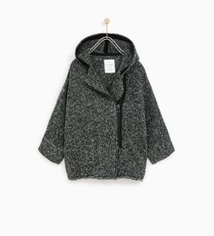 Image 2 of KNIT CARDIGAN WITH ZIP AND HOOD from Zara