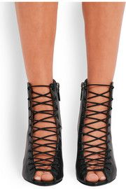 79713307373d Bondage wedge sandals in black leather Wedge Shoes