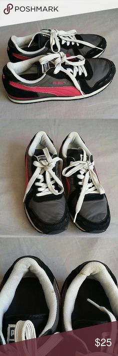 Puma Shoes Gray/Pink/Black  Size 7.5 M Lace-ups Leather/Nylon Item is in a good condition, NO PETS AND SMOKE FREE HOME. Please check the pictures. Puma Shoes