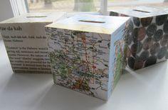 DIY Charity (tzedakah) Boxes...empty tissue box and decoupage!
