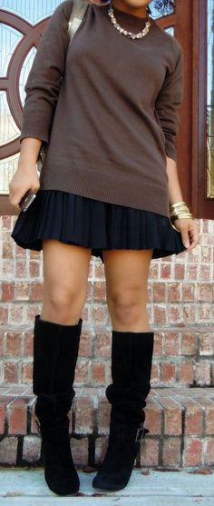 I would like outfits like this. I've got the boots, now I just need sweater/skirt combinations.