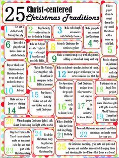 25 Christ-Centered Christmas Traditions ~ https://thepracticalperfeccionista.wordpress.com/2013/11/17/25-christ-centered-christmas-traditions/