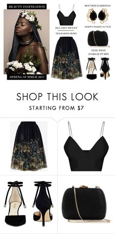 """Surrounded By Beauty"" by latoyacl ❤ liked on Polyvore featuring Ted Baker, Nine West, Serpui and Bounkit"