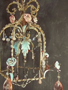 rare french tole porcelain chandelier with pastel flowers - inspiring! Chandelier Bougie, Chandeliers, Chandelier Lighting, Flower Chandelier, Antique Chandelier, Shabby Chic Decor, Bohemian Decor, Bohemian Living, Vintage Bohemian