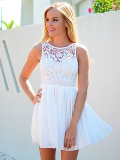 fresh white lace dress