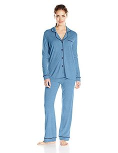 Cosabella Women's Bella Long-Sleeve Top and Pant Pajama Set, Blue Flower/Twilight, Small. Two-piece sleep set featuring button-front top with contrast piping and coordinating elastic-waist pant.