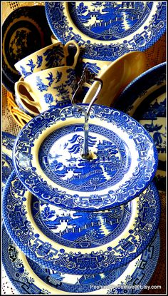 """Best selling Churchill's """"Blue Willow"""" handmade three tier cake stand made of first grade quality vintage porcelain with distinct and most loved blue&white stunning pattern for true admires of blue&white bone china; exquisite gift idea for whatever occasion - real showstopper design and look..."""