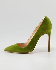 My favorite color of green, a mossy bright green by Manolo Blahnik - BB Suede Pump