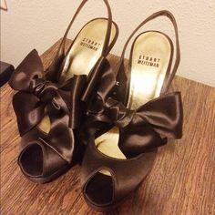 NEW Stuart Weitzman brown peep toe sandal with bow NEW. Stuart Weitzman chocolate brown sandal with bow. Peep toe. 4in heel with 1in platform. Satin. Made in Spain.? Stuart Weitzman Shoes