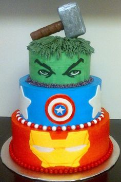 Avengers cake @Jennifer Milsaps hack would love this